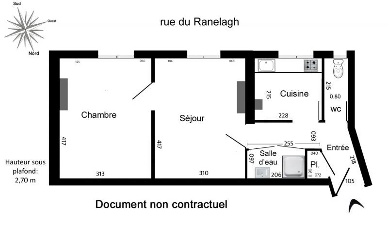 Rental apartment Paris 16ème 995€ CC - Picture 4