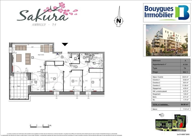 Sale apartment Ambilly 400000€ - Picture 3
