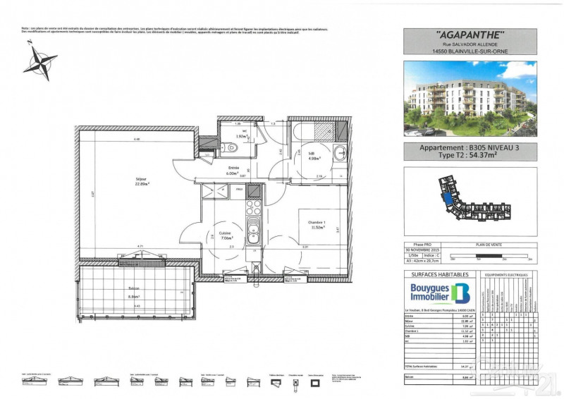 Location appartement Blainville sur orne 590€ CC - Photo 2