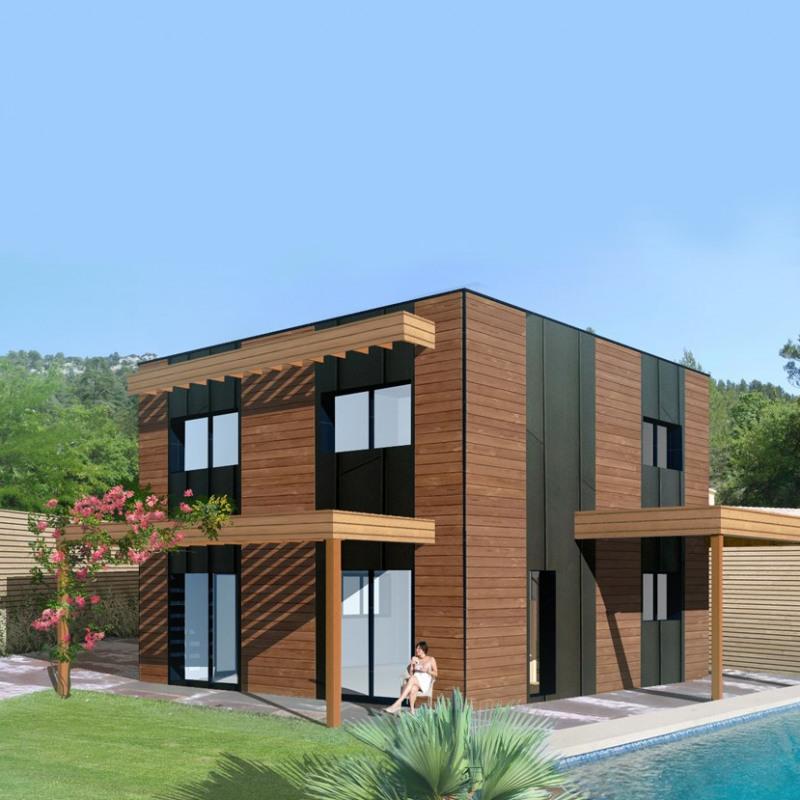 """Modèle de maison  """"Maison cubique bois"""" à partir de 4 pièces Seine-Maritime par LA MAISON DE CEDRE - AGENCE NORD"""