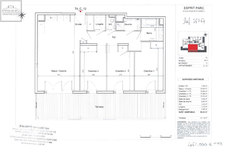Sale apartment Dardilly 461000€ - Picture 4