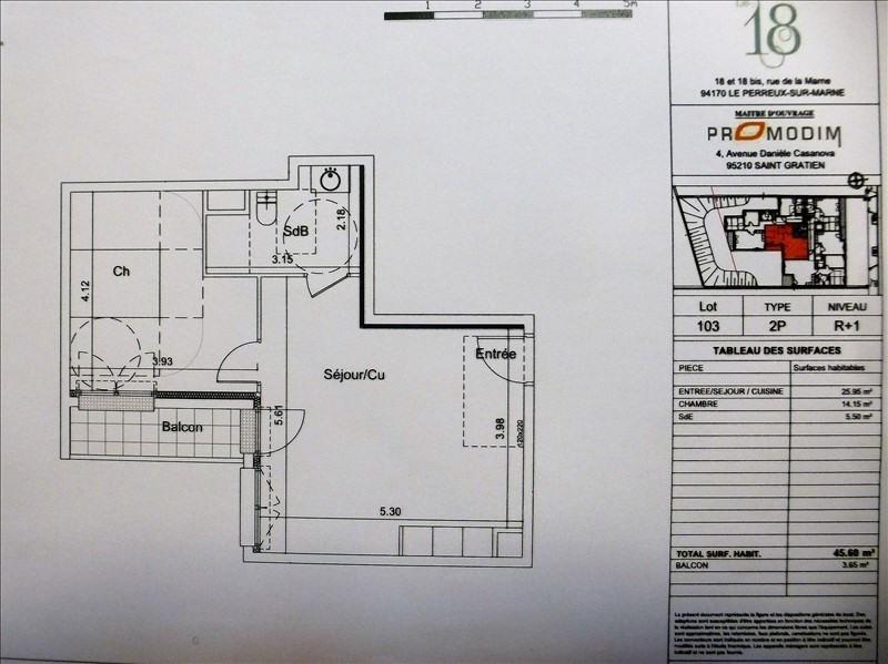 Verkoop  appartement Le perreux sur marne 298000€ - Foto 1