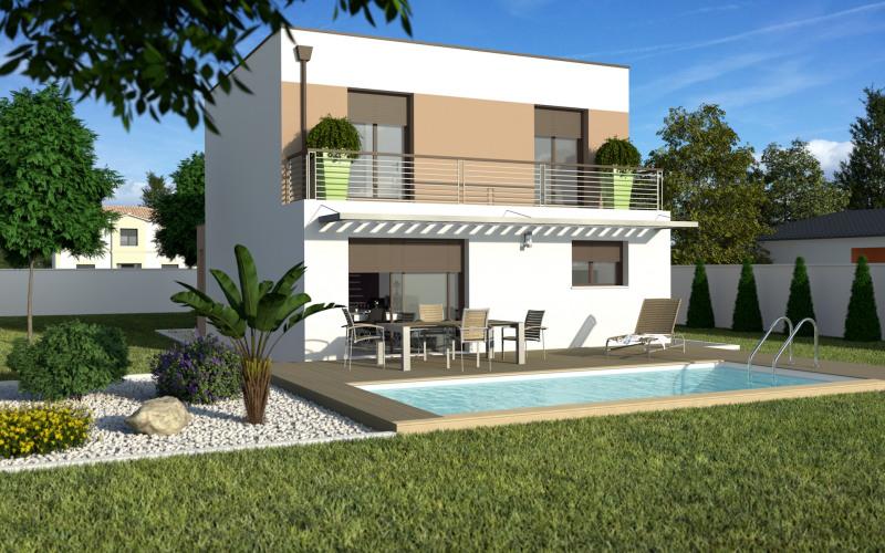 """Modèle de maison  """"Maison de ville toit plat avec garage"""" à partir de 4 pièces Lot-et-Garonne par MAISONS ECG"""