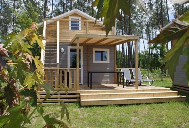 PROMO à partir de 224€ la semaine en Chalet 6pers. avec double terrasse - Camping 5 * au bord du LAC DE BISCARROSSE