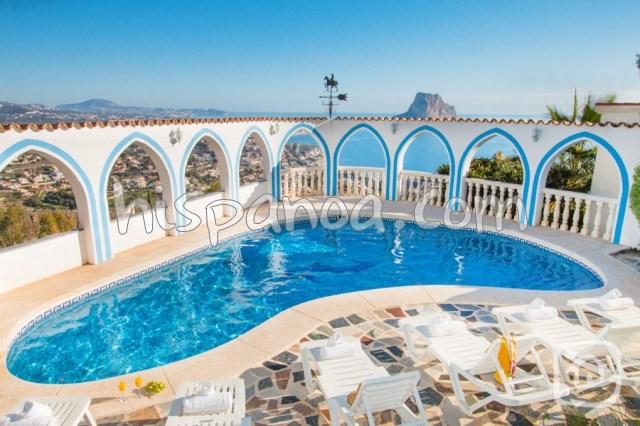 Location de cette villa rustique avec une magnifique vue mer à Calpe  visti