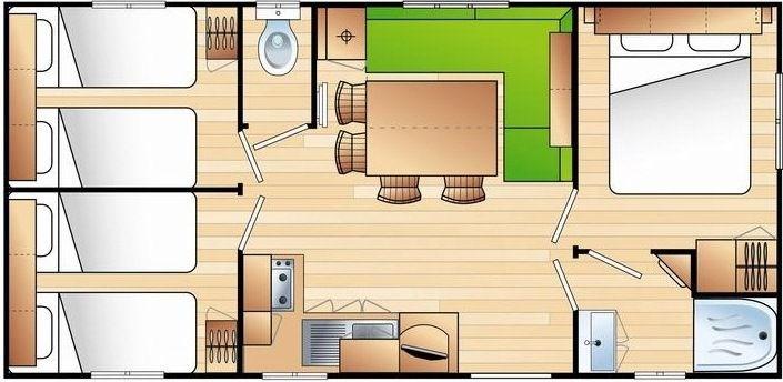 Le Mobil home est conçu pour 6 personnes sur 3 chambres et 2 personnes sur le convertible - Le Ca...