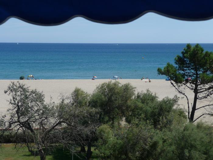 vue sur la mer, la plage et la petite pinède