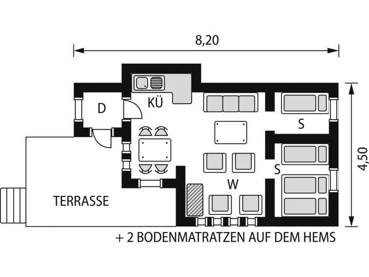 Maison pour 6 à Lundegrend
