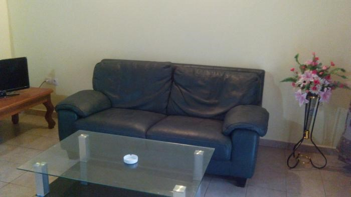 Salon avec canapé en cuir, table basse en verre ,