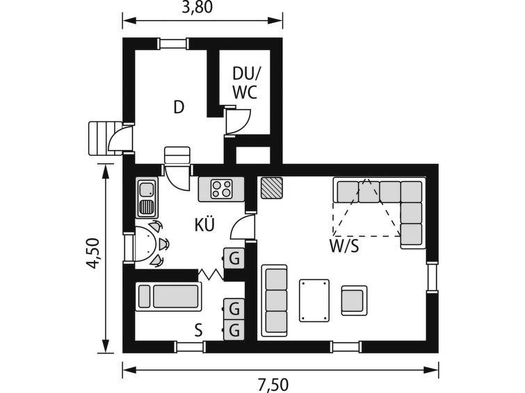 Maison pour 3 à Backaryd