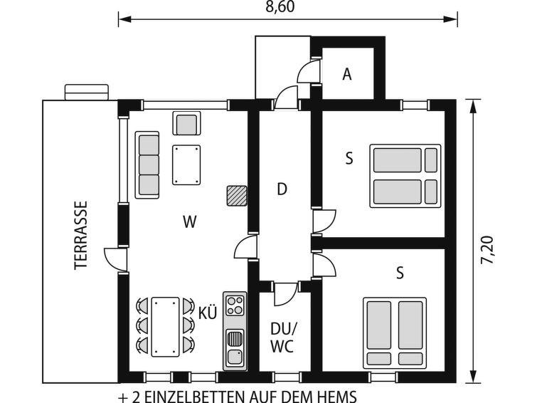 Maison pour 6 à Tjoflot