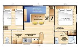 D'une superficie de 28m² environ, le mobil home 4 personnes est équipé d'une chambre avec un lit 2 places, d'une seco...