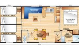 D'une superficie de 32 m² environ, le mobil home 6 personnes est équipé d'une chambre avec un lit 2 places, de deux c...