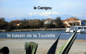 le bassin de la Tourette avec la Canigou enneigée à l'horizon