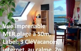 vue imprenable sur la plage de Trestel près Perros-Guirec  4 Locations 2p.  Internet avec Box  3CléVacances au calme,