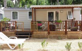Magnifique mobil home pour 6 pers. MAXI , avec terrasse couverte, dans camping 4 ++++  parc boisé, piscines, clim.....