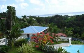 Bas de villa dans jardin tropical avec espace piscine et vue sur mer