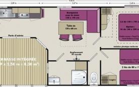 D'une superficie de 30m² environ, le mobil home 4 personnes VIP est équipé d'une chambre avec un lit 2 places, d'une ...