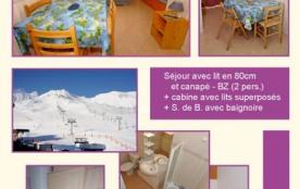 405 Résidence TEC 5 pers Cat 3 : Studio/cabine au 4ème étage avec terrasse commune vue sur pistes