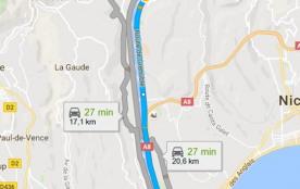 trajet gîte / aéroport de Nice 26mn