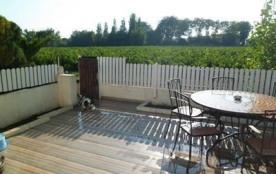 Terrasse donnant sur le vignoble et ensoleillée à partir de 11h (ancienne table)