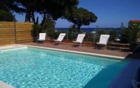 Maison vue mer 6/8 personnes, piscine privée, plage de sable à 150 m à Ste Maxime proche des Issambres , allée calme