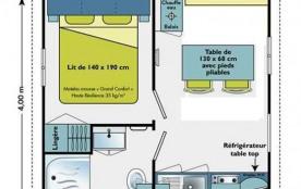D'une superficie de 16 m² environ, le mobil home 2 personnes est équipé d'une chambre avec un lit 2 personnes.