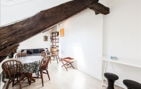 Sunny attic apt steps from Seine