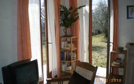 Séjour, deux fenêtres ouvrant sur terrasse en herbe et oliviers