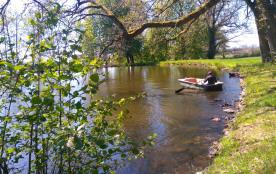 barque sur l'étang du parc