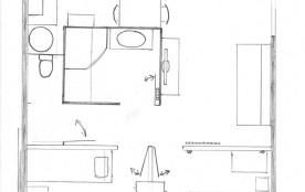 Plan de la maison 40m² T3 avec 2 Chambres
