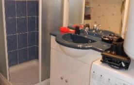 la salle de bainss avec douche et lave linge