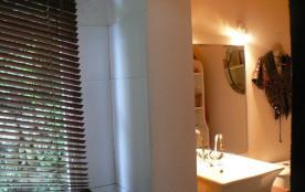 apperçu de la sale de bain où l' on ne voit pas la baignoire d' angle!