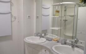 salle d'eau avec cabine de douche et deux vasques