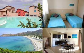 Beau T3 Plage de Lozari, terrasse, piscine et accès plage à pieds