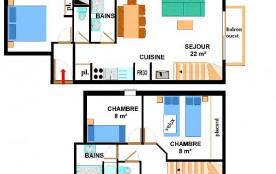 Appartement duplex 4 pièces 8 personnes (015)