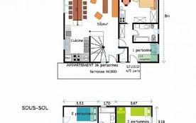 Plan intérieur, terrasse sud 33 m2, 6 chambres=14 places séjour 40 m2.