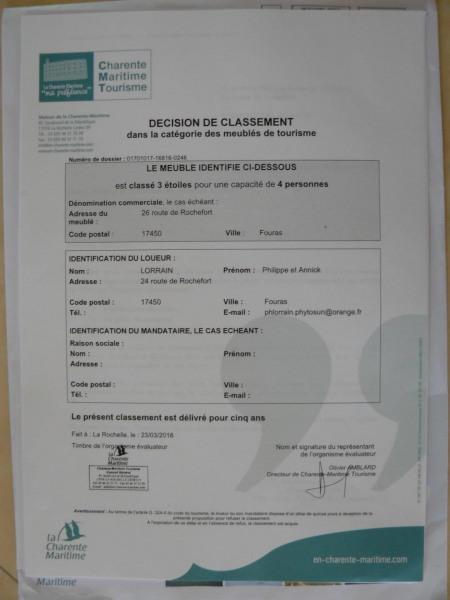 Classement Tourisme Charente Maritime