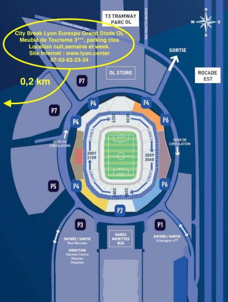 Plan accès Grand Stade Olympique Lyonnais