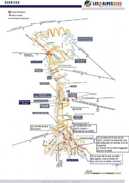 Plan général, le chalet est au sud-sud est de la station
