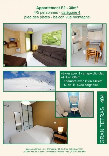 404 Résidence TETRAS 4 pers Cat 4 : Appt au 4ème étage avec balcon vue sur la montagne