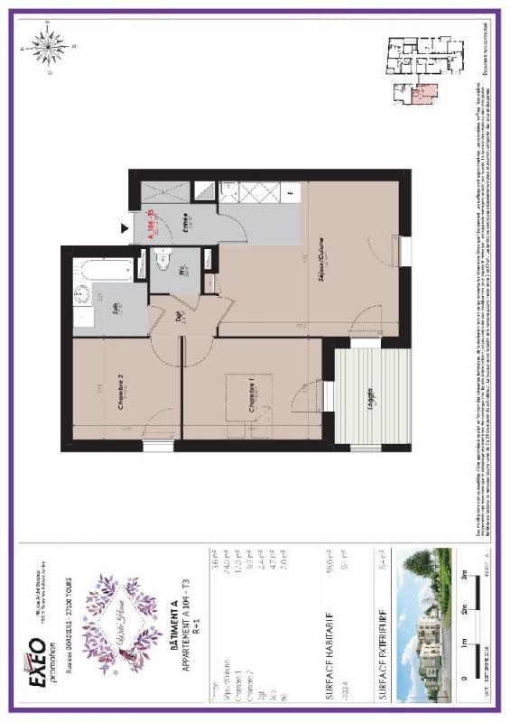location appartement 3 pi ces tours appartement f3 t3 3 pi ces 58m 615 mois. Black Bedroom Furniture Sets. Home Design Ideas