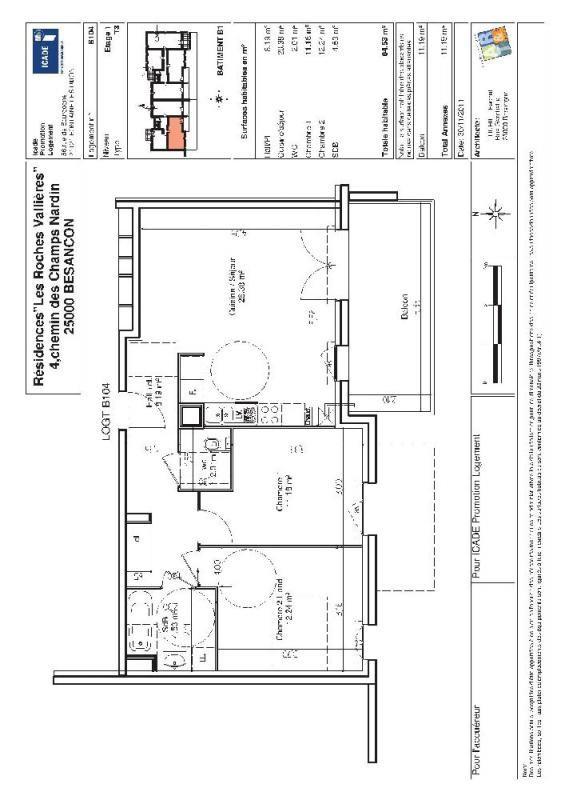 location appartement 3 pi ces besan on appartement f3 t3 3 pi ces 64 53m 688 mois. Black Bedroom Furniture Sets. Home Design Ideas