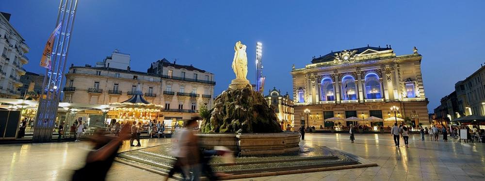 La place de la Comedie, à Montpellier
