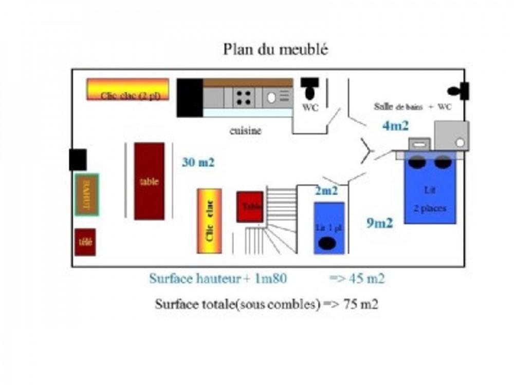 Le plan du meublé 45 m2 à 1,80m et 75 m2 sous pente