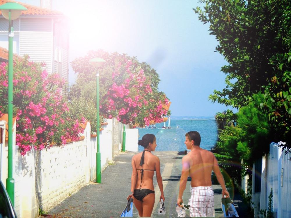 Accès direct à la plage dans des allées calmes et fleuries