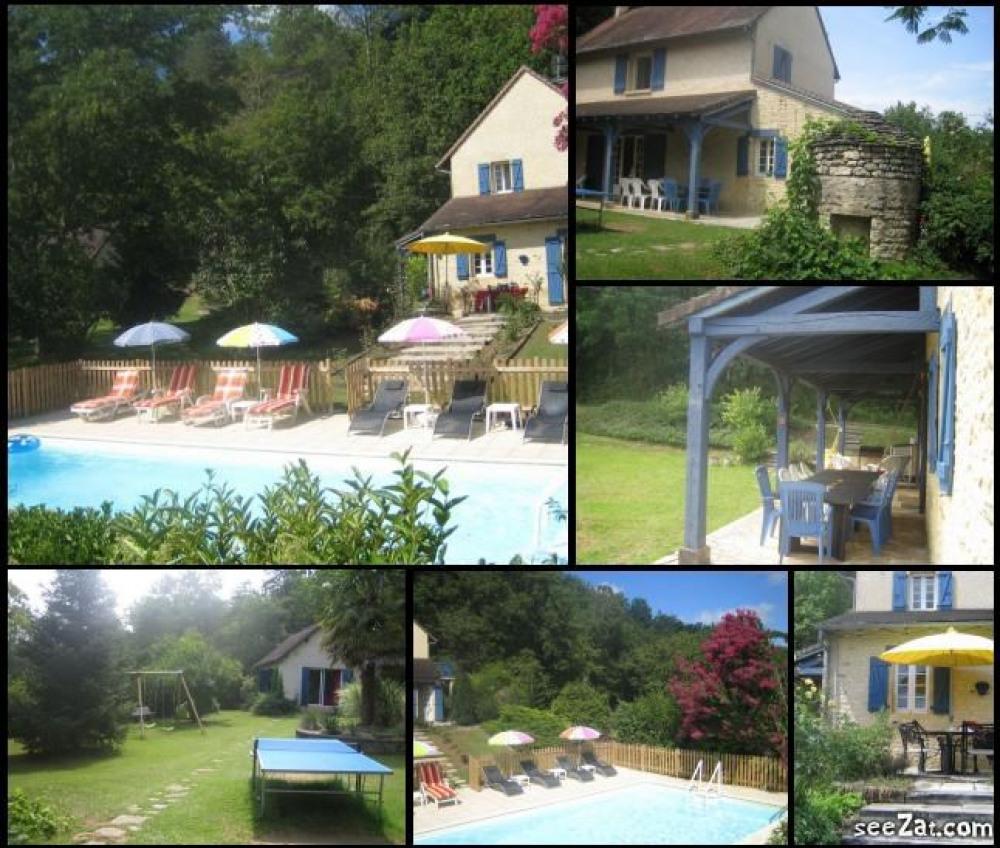 Périgord Noir, cadre exceptionnel, propriété de charme 2/10 personnes, 4 chambres, piscine chauffée