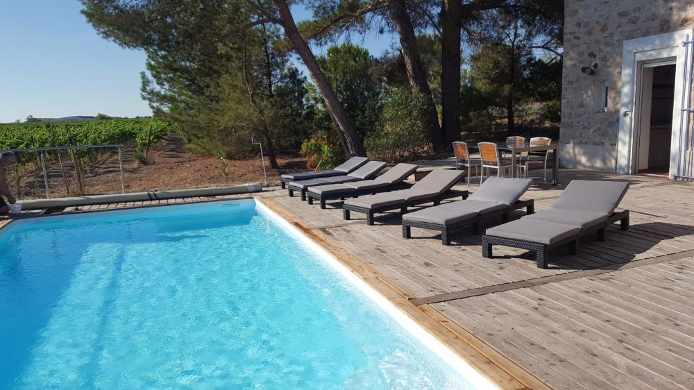 Gîte 6 personnes (3 chambres) dans les vignes avec piscine privée extérieure et chauffée - Lézign...