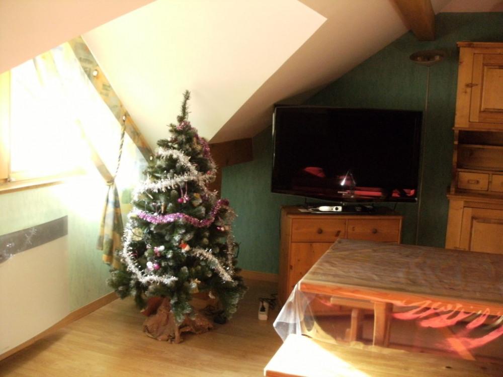 La pièce à vivre décorée pour les fêtes de fin d'année.