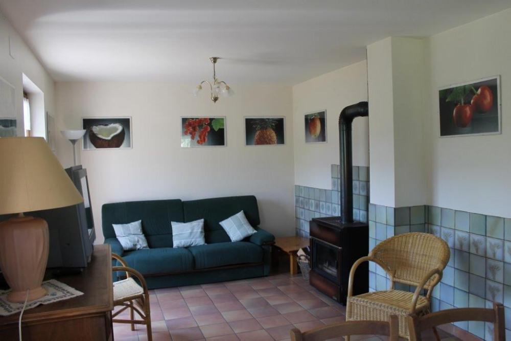 un grand salon, avec cheminée